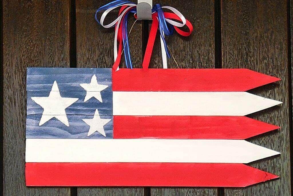 Miniature Wooden American Flag