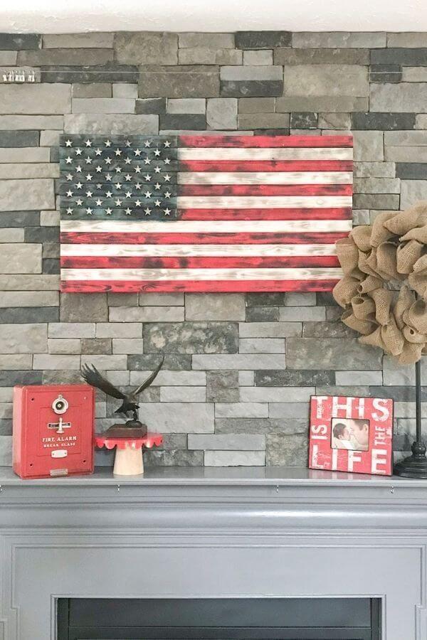 Patriotic Wood American Flag